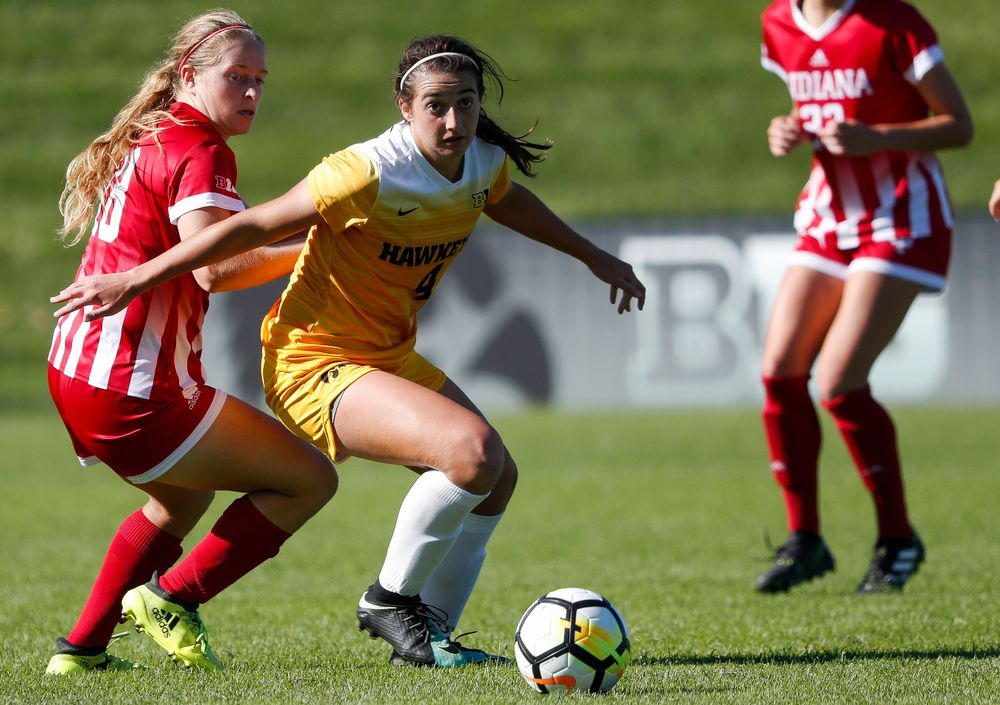 Iowa Hawkeyes forward Kaleigh Haus (4) dribbles the ball during a game against Indiana at the Iowa Soccer Complex on September 23, 2018. (Tork Mason/hawkeyesports.com)
