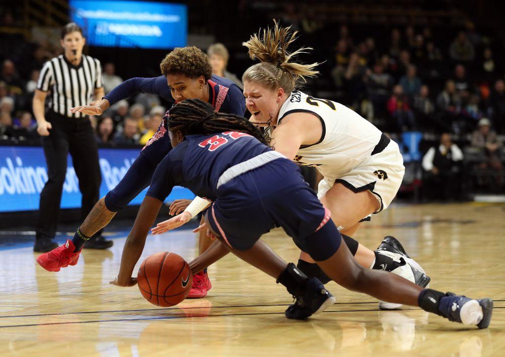 Iowa Hawkeyes forward/center Monika Czinano (25) against Florida Atlantic University Thursday, November 7, 2019 at Carver-Hawkeye Arena. (Brian Ray/hawkeyesports.com)