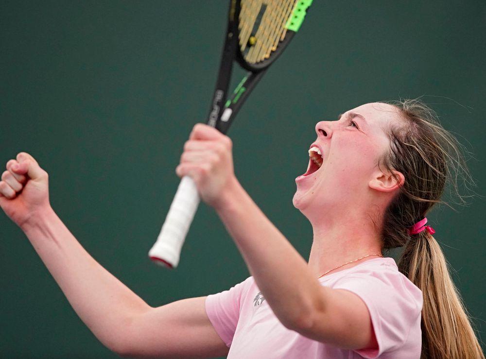 Iowa's Samantha Mannix celebrates during a match against Purdue at the Hawkeye Tennis and Recreation Complex in Iowa City on Friday, Mar. 29, 2019. (Stephen Mally/hawkeyesports.com)