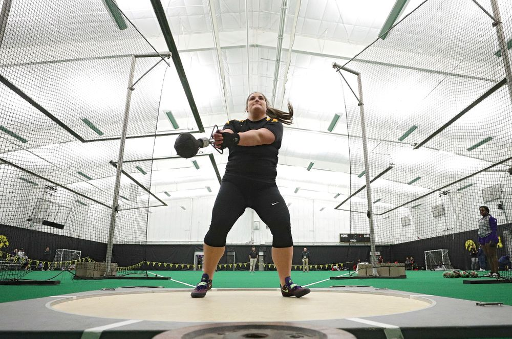 Iowa's Jamie Kofron throws in the women's weight throw event during the Hawkeye Invitational at the Hawkeye Tennis and Recreation Complex in Iowa City on Friday, January 10, 2020. (Stephen Mally/hawkeyesports.com)