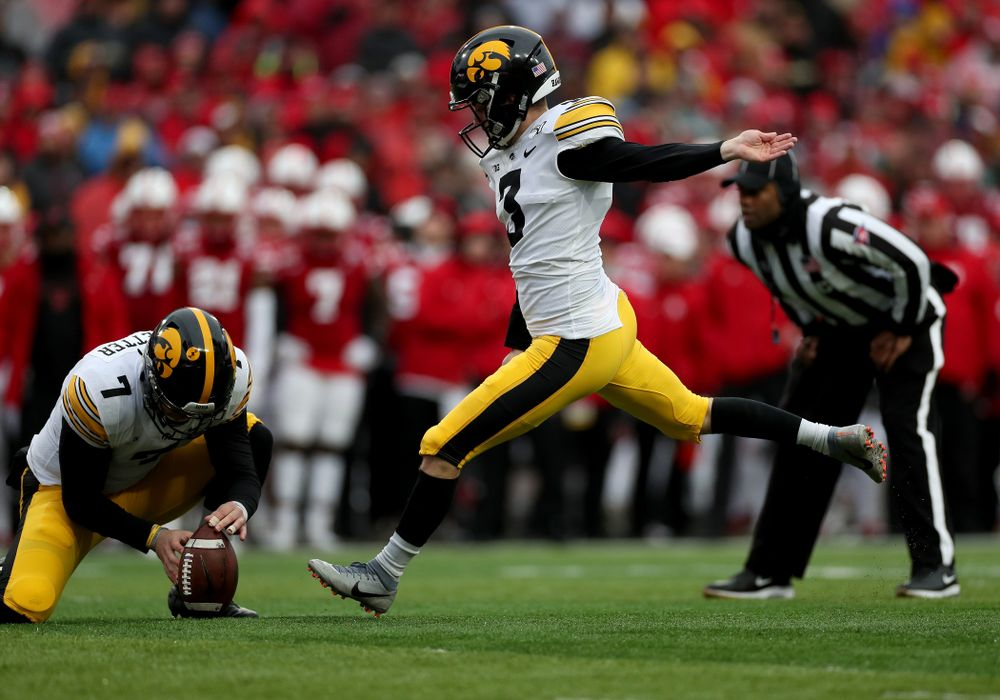 Iowa Hawkeyes place kicker Keith Duncan (3) and punter Colten Rastetter (7) against the Nebraska Cornhuskers Friday, November 29, 2019 at Memorial Stadium in Lincoln, Neb. (Brian Ray/hawkeyesports.com)