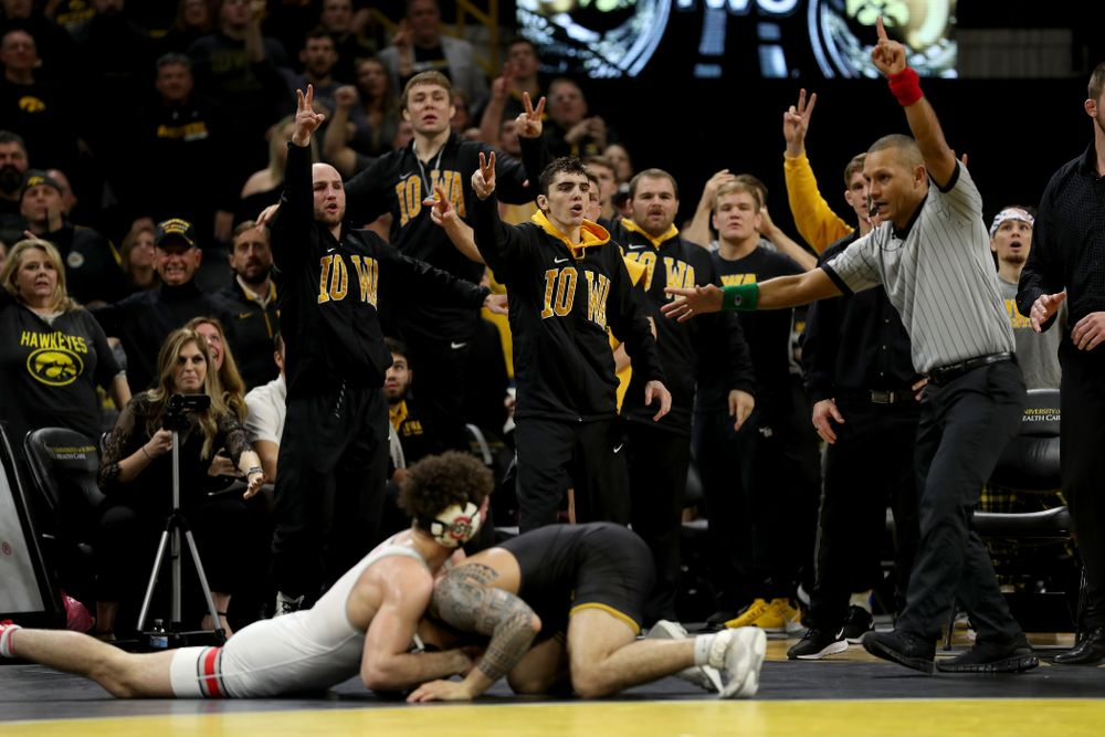 Iowa's Pat Lugo wrestles Ohio State's Sammy Sasso at 149 pounds Friday, January 24, 2020 at Carver-Hawkeye Arena. Sasso won the match with a 2-1 in overtime. (Brian Ray/hawkeyesports.com)
