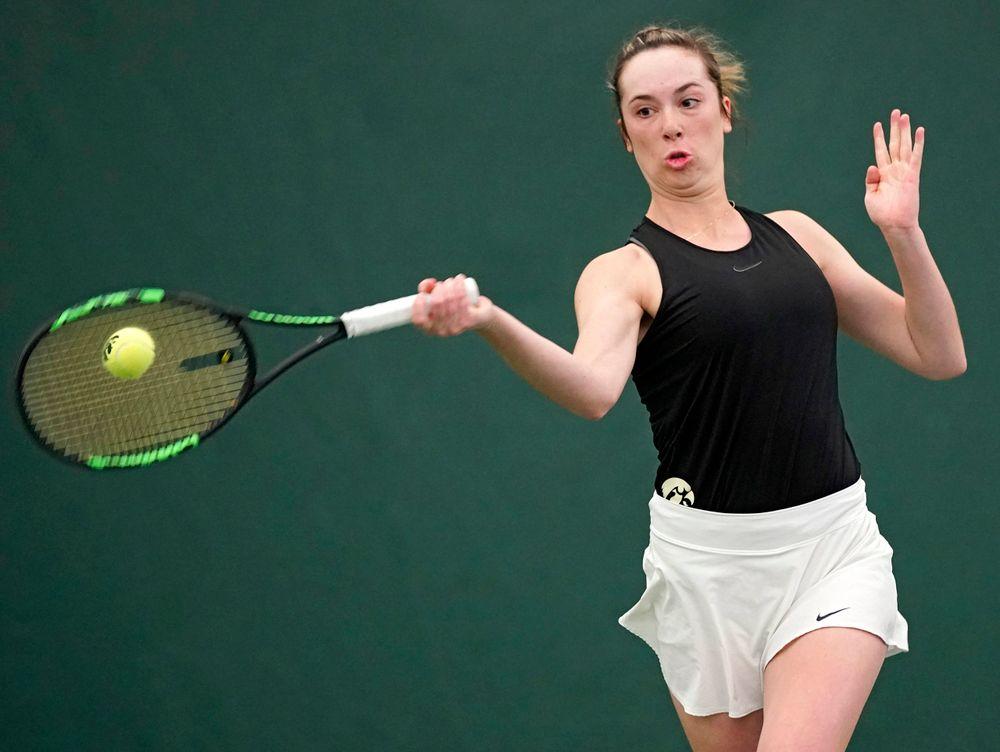 Iowa's Samantha Mannix plays a match against Indiana at the Hawkeye Tennis and Recreation Complex in Iowa City on Sunday, Mar. 31, 2019. (Stephen Mally/hawkeyesports.com)