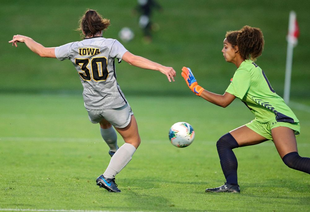 Iowa forward Devin Burns (30) scores a goal during the first half of their match at the Iowa Soccer Complex in Iowa City on Friday, Sep 13, 2019. (Stephen Mally/hawkeyesports.com)