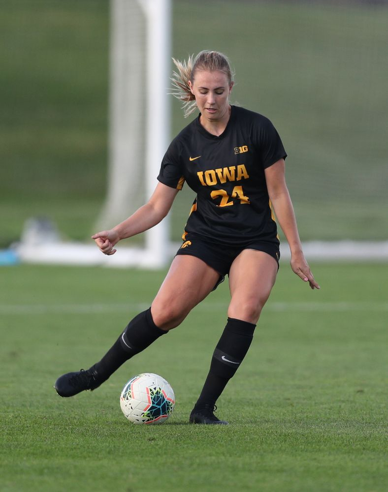 Iowa Hawkeyes defender Sara Wheaton (24) during a 2-1 victory over the Iowa State Cyclones Thursday, August 29, 2019 in the Iowa Corn Cy-Hawk series at the Iowa Soccer Complex. (Brian Ray/hawkeyesports.com)