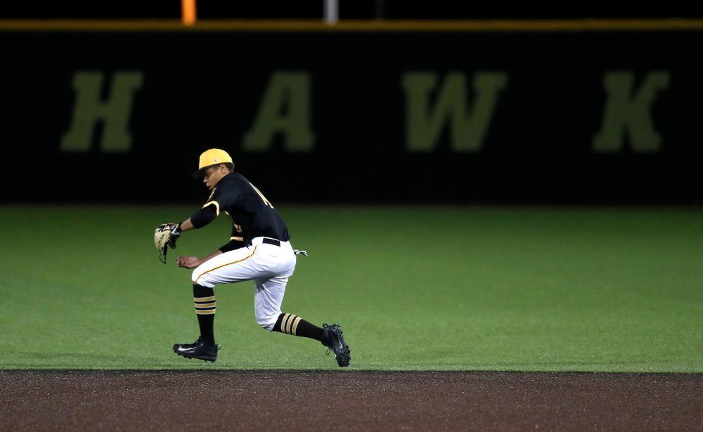 Iowa Hawkeyes second baseman Zion Pettigrew (14) against Milwaukee Wednesday, April 25, 2018 at Duane Banks Field. (Brian Ray/hawkeyesports.com)