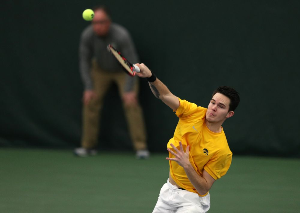 Jonas Larsen and Kareem Allaf against Utah Sunday, February 10, 2019 at the Hawkeye Tennis and Recreation Complex. (Brian Ray/hawkeyesports.com)