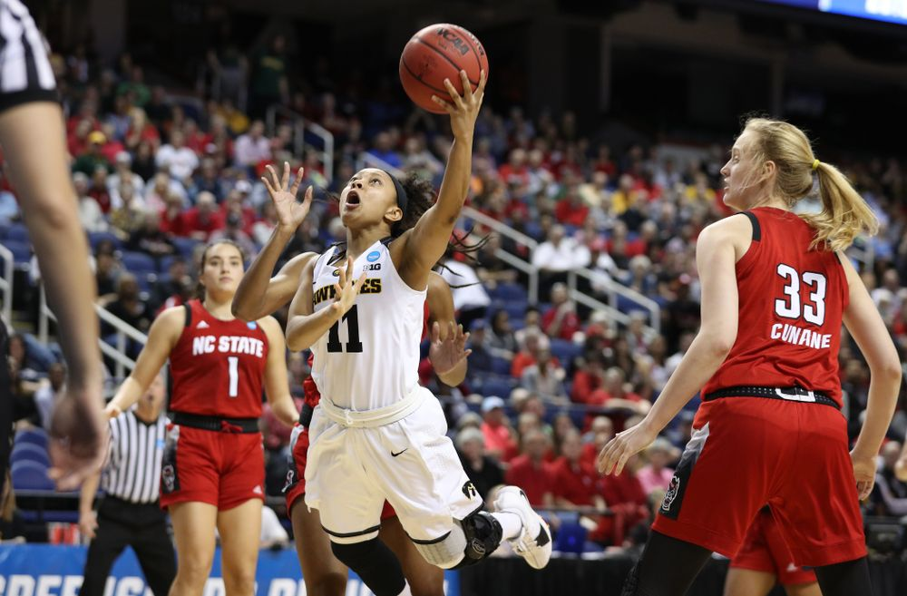 Iowa Hawkeyes guard Tania Davis (11) against the NC State Wolfpack in the regional semi-final of the 2019 NCAA Women's College Basketball Tournament Saturday, March 30, 2019 at Greensboro Coliseum in Greensboro, NC.(Brian Ray/hawkeyesports.com)