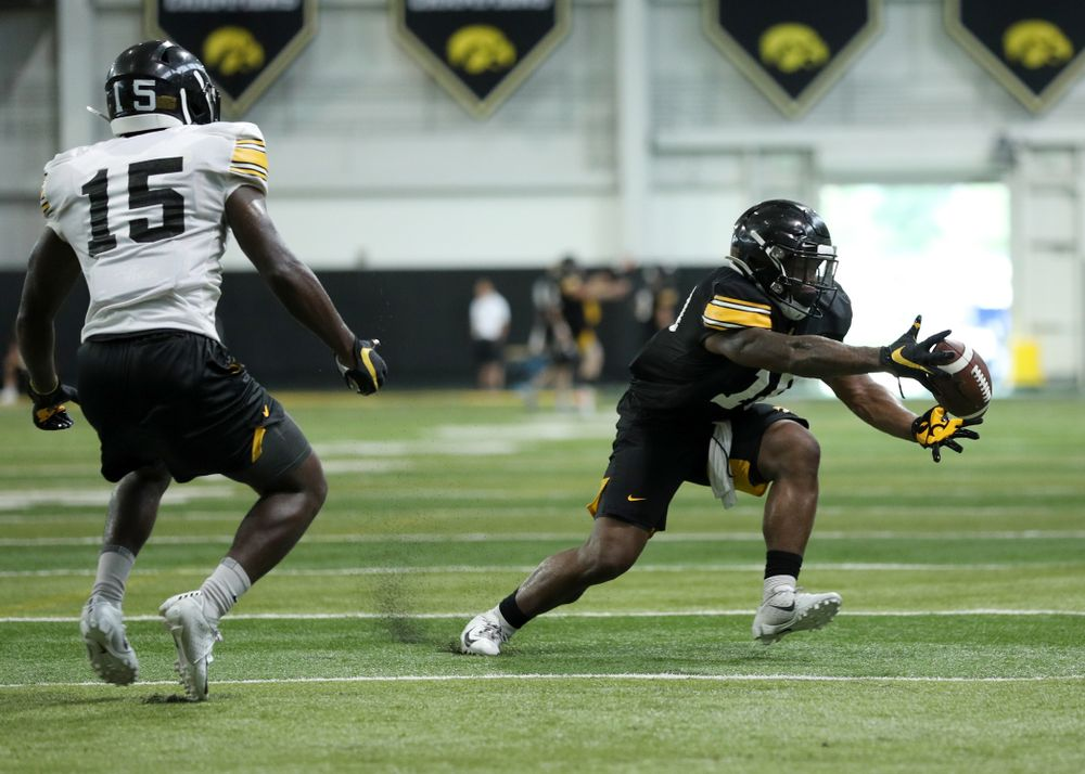 Iowa Hawkeyes running back Mekhi Sargent (10) during Fall Camp Practice No. 16 Tuesday, August 20, 2019 at the Ronald D. and Margaret L. Kenyon Football Practice Facility. (Brian Ray/hawkeyesports.com)