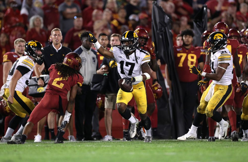 Iowa Hawkeyes defensive back Devonte Young (17) celebrates after recovering a fumbled punt against the Iowa State Cyclones Saturday, September 14, 2019 in Ames, Iowa. (Brian Ray/hawkeyesports.com)