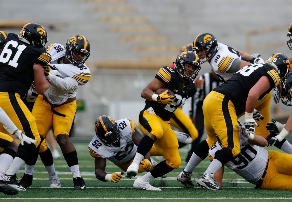 Iowa Hawkeyes running back Ivory Kelly-Martin (21) during the final spring practice Friday, April 20, 2018 at Kinnick Stadium. (Brian Ray/hawkeyesports.com)