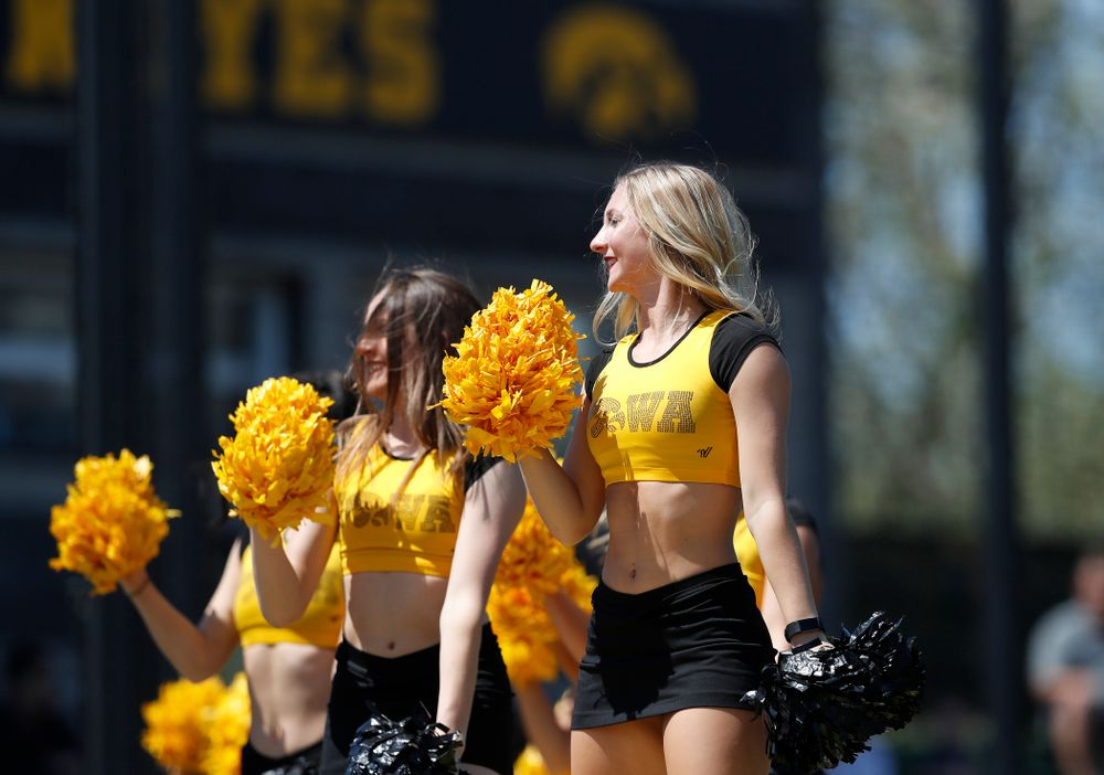 The Iowa Dance Team performs during the Iowa Hawkeyes game against the Oklahoma State Cowboys Sunday, May 6, 2018 at Duane Banks Field. (Brian Ray/hawkeyesports.com)