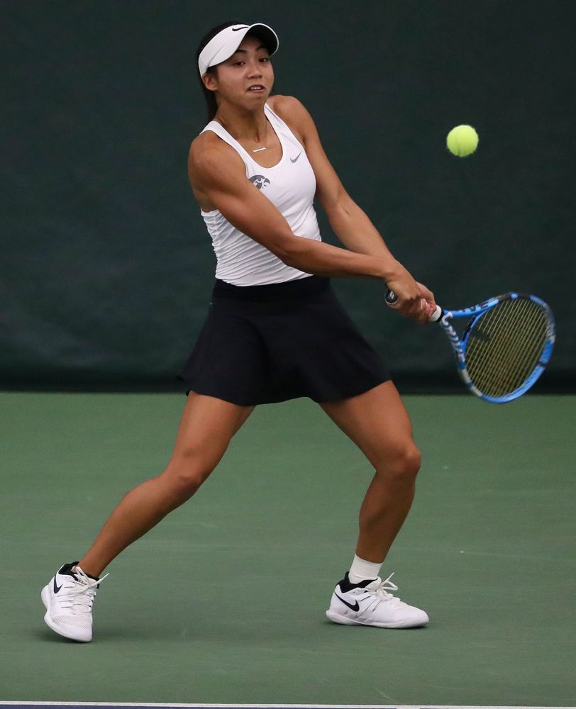 Michelle Bacalla returns a shot in a doubles match during the second day of the ITA Central Regional Championships at the Hawkeye Tennis and Recreation Complex on October 13, 2018. (Tork Mason/hawkeyesports.com)