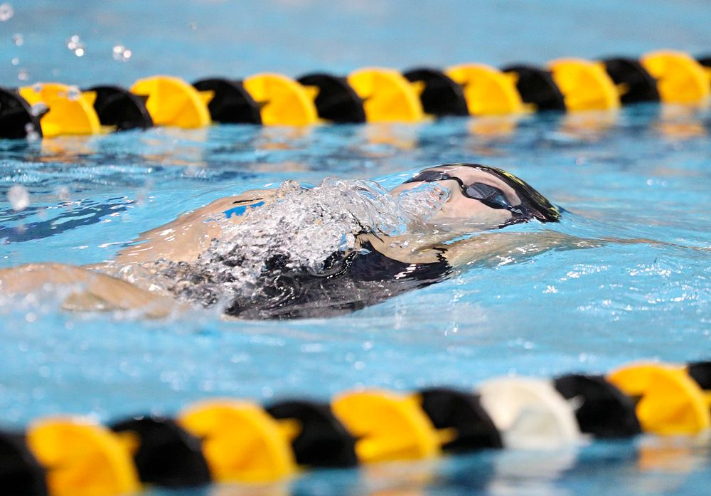 Iowa's Emilia Sansome swims the backstroke section of the women's 200-yard medley relay event during their meet against Michigan State and Northern Iowa at the Campus Recreation and Wellness Center in Iowa City on Friday, Oct 4, 2019. (Stephen Mally/hawkeyesports.com)