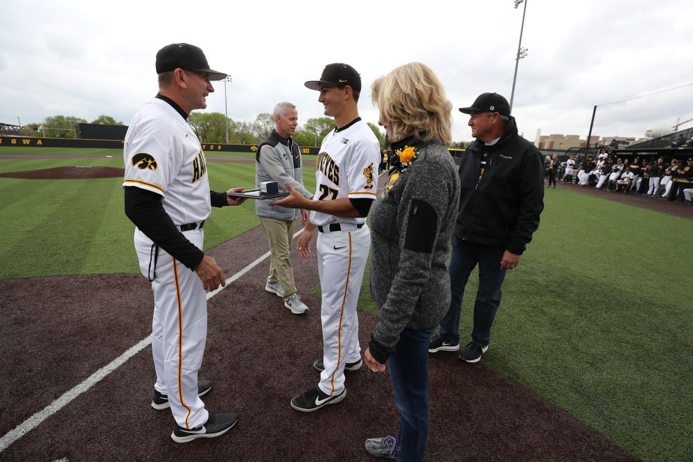 Iowa Hawkeyes Jason Foster (27) during senior day festivities before their game against Michigan State Sunday, May 12, 2019 at Duane Banks Field. (Brian Ray/hawkeyesports.com)