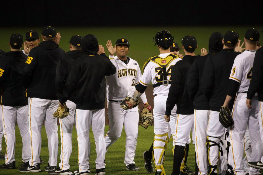 The Iowa baseball team at game 1 vs Rutgers on Friday, April 5, 2019 at Duane Banks Field. (Lily Smith/hawkeyesports.com)