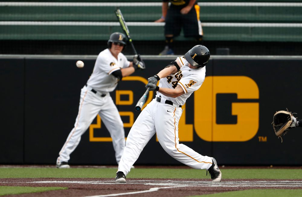 Iowa Hawkeyes outfielder Robert Neustrom (44) doubles against the Missouri Tigers Tuesday, May 1, 2018 at Duane Banks Field. (Brian Ray/hawkeyesports.com)