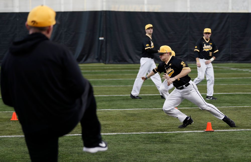 Iowa Hawkeyes catcher Tyler Cropley (5) during the team's annual media day Thursday, February 8, 2018 in the indoor practice facility. (Brian Ray/hawkeyesports.com)