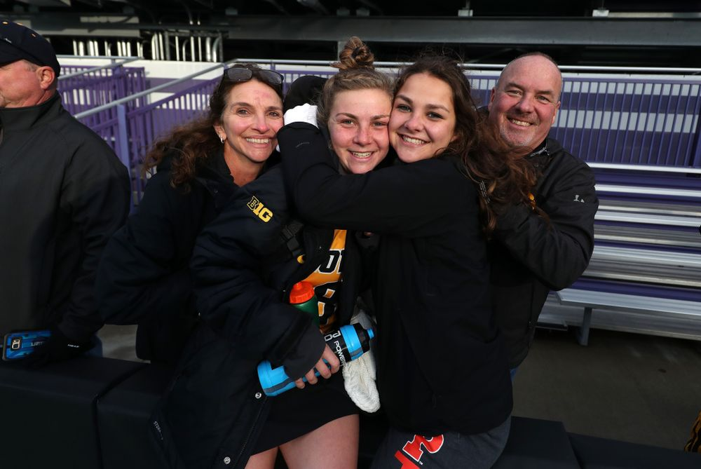 Iowa Hawkeyes Nikki Freeman (8) and her family following their game against the Michigan Wolverines in the semi-finals of the Big Ten Tournament Friday, November 2, 2018 at Lakeside Field on the campus of Northwestern University in Evanston, Ill. (Brian Ray/hawkeyesports.com)