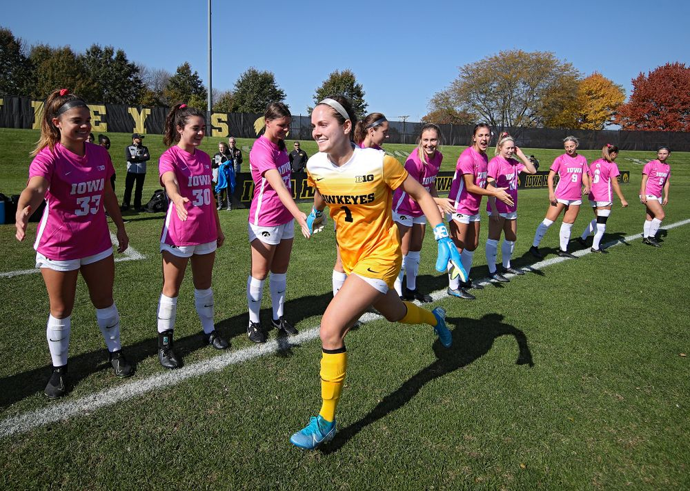 Iowa goalkeeper Claire Graves (1) takes the field before their match at the Iowa Soccer Complex in Iowa City on Sunday, Oct 27, 2019. (Stephen Mally/hawkeyesports.com)
