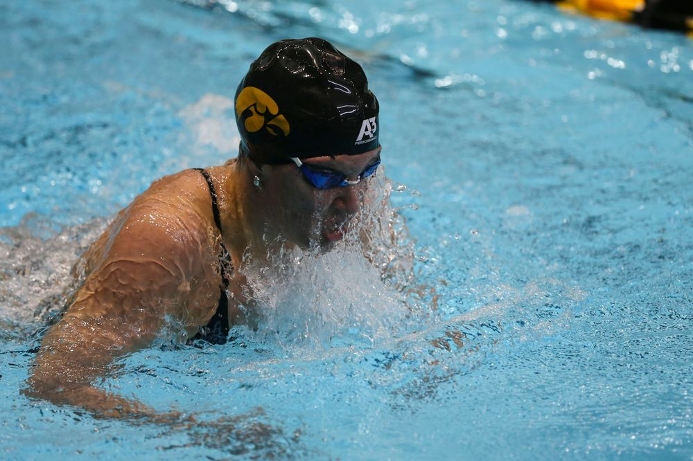 Iowa's Sage Ohlensehlen during Iowa swim and dive vs Minnesota on Saturday, October 26, 2019 at the Campus Wellness and Recreation Center. (Lily Smith/hawkeyesports.com)