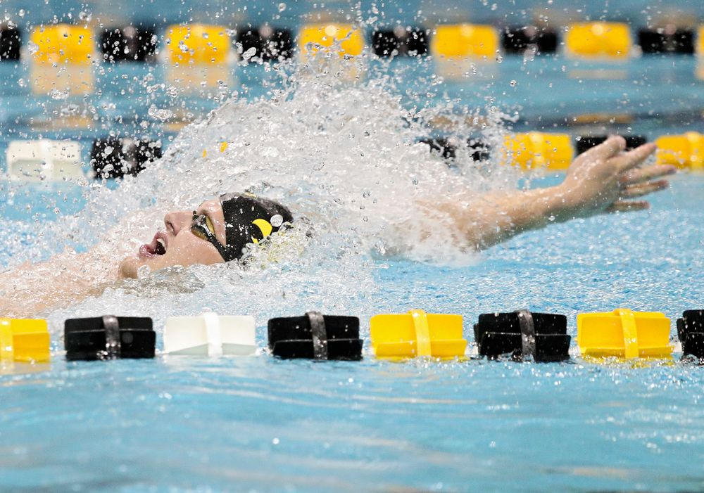 Iowa's Will Myhre swims the backstroke section of the 100-yard individual medley event during their meet against Michigan State at the Campus Recreation and Wellness Center in Iowa City on Thursday, Oct 3, 2019. (Stephen Mally/hawkeyesports.com)