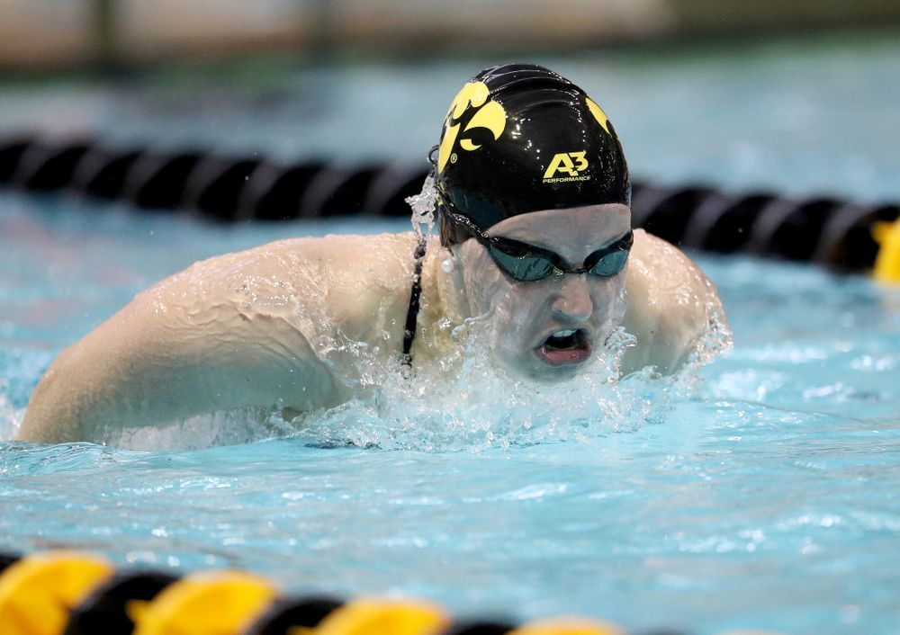 IowaÕs Grace Reeder competes in the 200 yard butterfly against Notre Dame and Illinois Saturday, January 11, 2020 at the Campus Recreation and Wellness Center.  (Brian Ray/hawkeyesports.com)