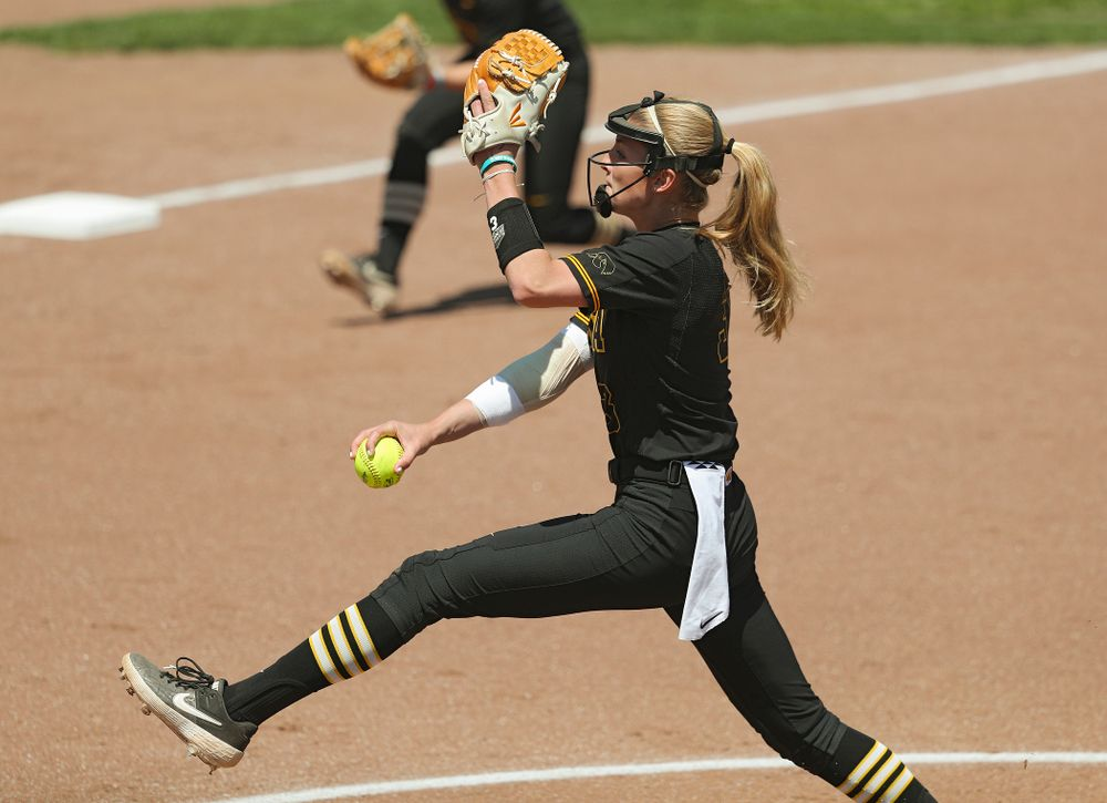 Iowa pitcher Allison Doocy (3) delivers to the plate during the first inning of their game against Ohio State at Pearl Field in Iowa City on Saturday, May. 4, 2019. (Stephen Mally/hawkeyesports.com)