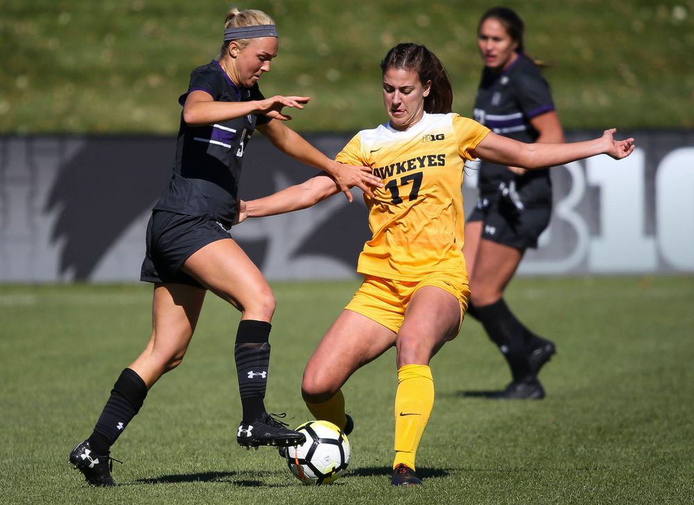 Iowa Hawkeyes defender Hannah Drkulec (17) makes a tackle during a game against Northwestern at the Iowa Soccer Complex on October 21, 2018. (Tork Mason/hawkeyesports.com)