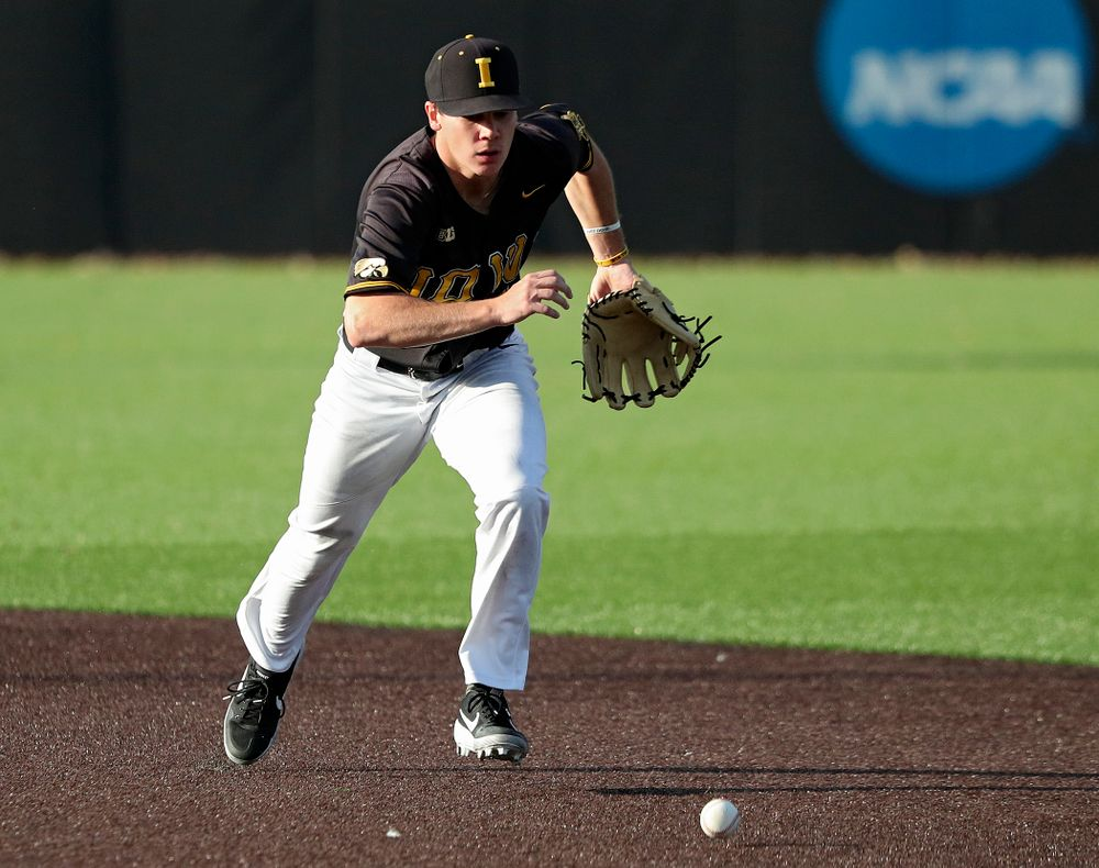Iowa infielder Sam Link (3) tracks down the ball after knocking down a line drive during the fourth inning of the first game of the Black and Gold Fall World Series at Duane Banks Field in Iowa City on Tuesday, Oct 15, 2019. (Stephen Mally/hawkeyesports.com)