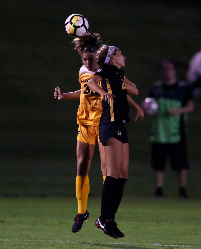 Iowa Hawkeyes Riley Burns (33) against the Missouri Tigers Friday, August 17, 2018 at the Iowa Soccer Complex. (Brian Ray/hawkeyesports.com)