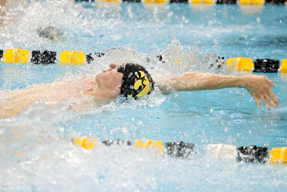 Iowa's John Colin swims the men's 50-yard backstroke event during their meet against Michigan State at the Campus Recreation and Wellness Center in Iowa City on Thursday, Oct 3, 2019. (Stephen Mally/hawkeyesports.com)