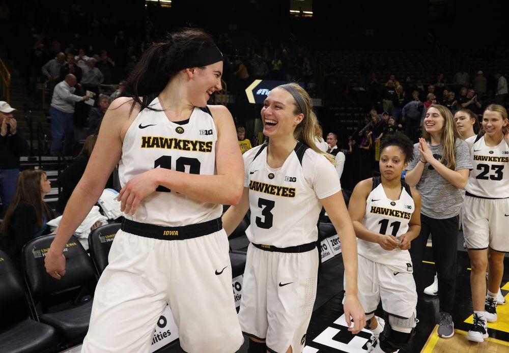 Iowa Hawkeyes forward Megan Gustafson (10) and guard Makenzie Meyer (3) against the Michigan Wolverines Thursday, January 17, 2019 at Carver-Hawkeye Arena. (Brian Ray/hawkeyesports.com)