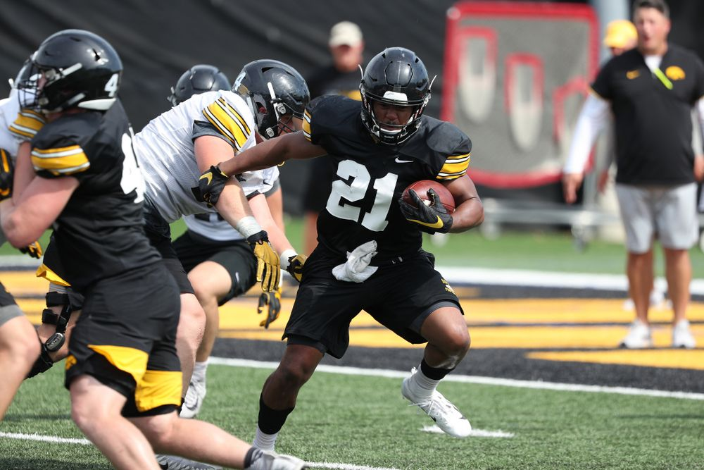 Iowa Hawkeyes running back Ivory Kelly-Martin (21) during Fall Camp Practice No. 4 Monday, August 5, 2019 at the Ronald D. and Margaret L. Kenyon Football Practice Facility. (Brian Ray/hawkeyesports.com)