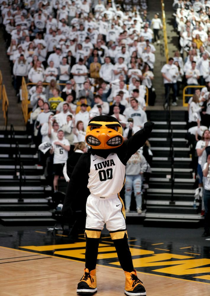 Herky the Hawk and the Hawks Nest before the Iowa Hawkeyes game against the Illinois Fighting Illini Sunday, February 2, 2020 at Carver-Hawkeye Arena. (Brian Ray/hawkeyesports.com)