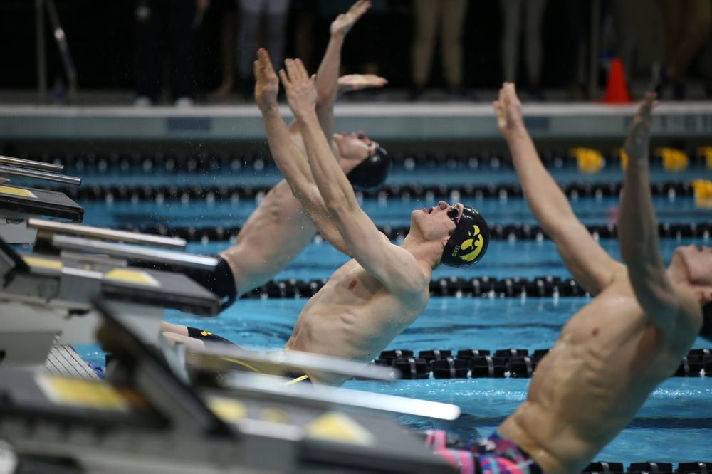 Iowa's Kenneth Mende swims the backstroke leg of the 200 medley relay at the 2019 Big Ten Swimming and Diving meet  Wednesday, February 27, 2019 at the Campus Wellness and Recreation Center. (Lily Smith/hawkeyesports.com)