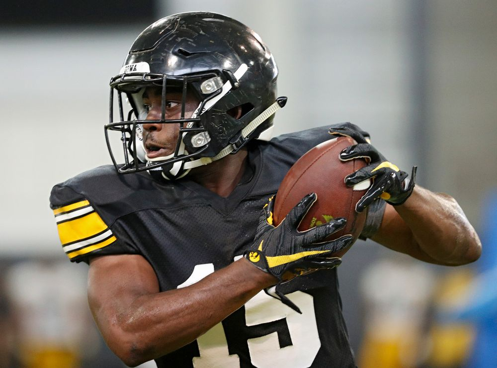 Iowa Hawkeyes running back Tyler Goodson (15) pulls in a pass during Fall Camp Practice No. 6 at the Hansen Football Performance Center in Iowa City on Thursday, Aug 8, 2019. (Stephen Mally/hawkeyesports.com)