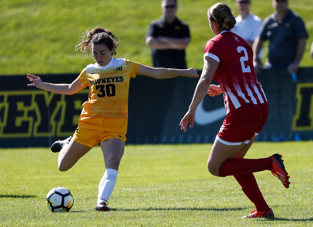 Iowa Hawkeyes forward Devin Burns (30) passes the ball during a game against Indiana at the Iowa Soccer Complex on September 23, 2018. (Tork Mason/hawkeyesports.com)