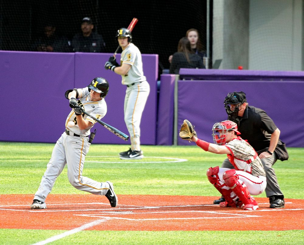 Iowa Hawkeyes outfielder Ben Norman (9) bats during the sixth inning of their CambriaCollegeClassic game at U.S. Bank Stadium in Minneapolis, Minn. on Friday, February 28, 2020. (Stephen Mally/hawkeyesports.com)