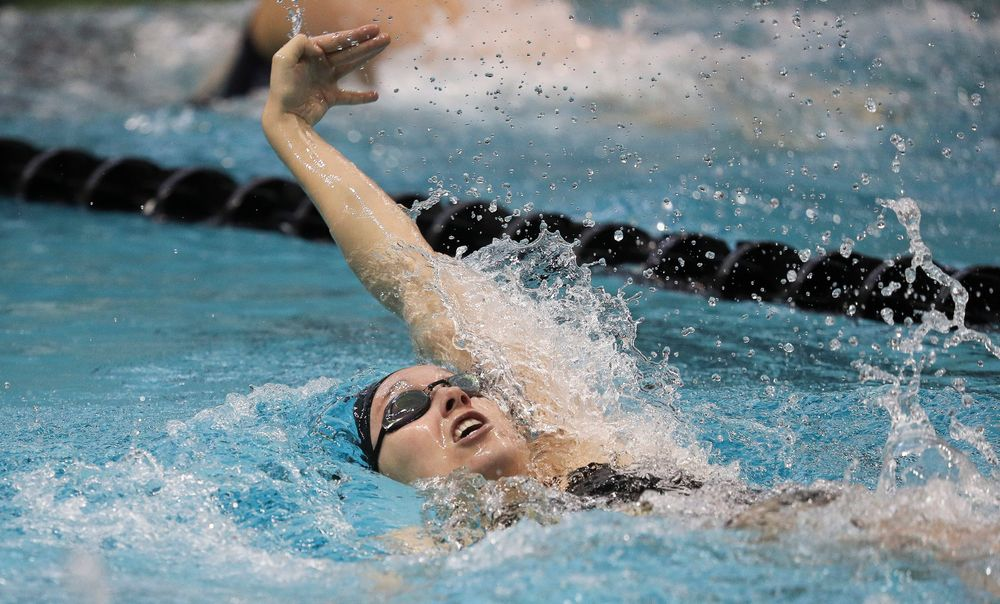 Iowa's Samantha Sauer competes in the 400-yard medley relay during a meet against Michigan and Denver at the Campus Recreation and Wellness Center on November 3, 2018. (Tork Mason/hawkeyesports.com)