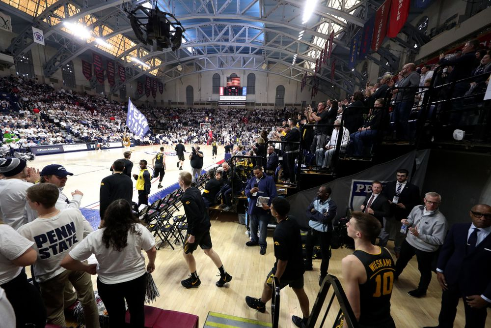 The Iowa Hawkeyes take the court for their game against Penn State Saturday, January 4, 2020 at the Palestra in Philadelphia. (Brian Ray/hawkeyesports.com)