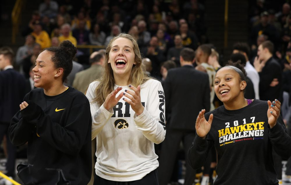 The Iowa Women's Basketball team is recognized during the Iowa Hawkeyes game against the Michigan State Spartans Thursday, January 24, 2019 at Carver-Hawkeye Arena. (Brian Ray/hawkeyesports.com)