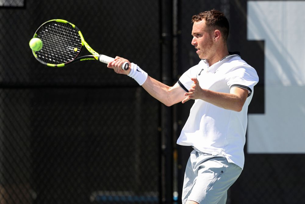 Iowa's Kareem Allaf during his match against Michigan at the Hawkeye Tennis and Recreation Complex in Iowa City on Sunday, Apr. 21, 2019. (Stephen Mally/hawkeyesports.com)