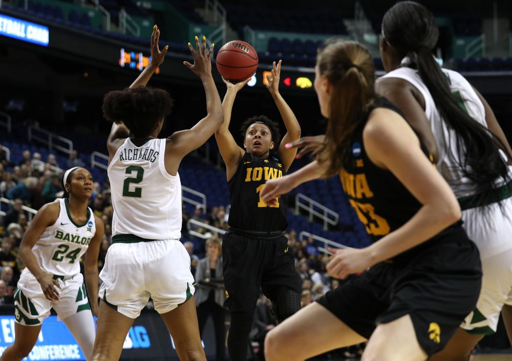 Iowa Hawkeyes guard Tania Davis (11) against the Baylor Lady Bears in the regional final of the 2019 NCAA Women's College Basketball Tournament Monday, April 1, 2019 at Greensboro Coliseum in Greensboro, NC.(Brian Ray/hawkeyesports.com)