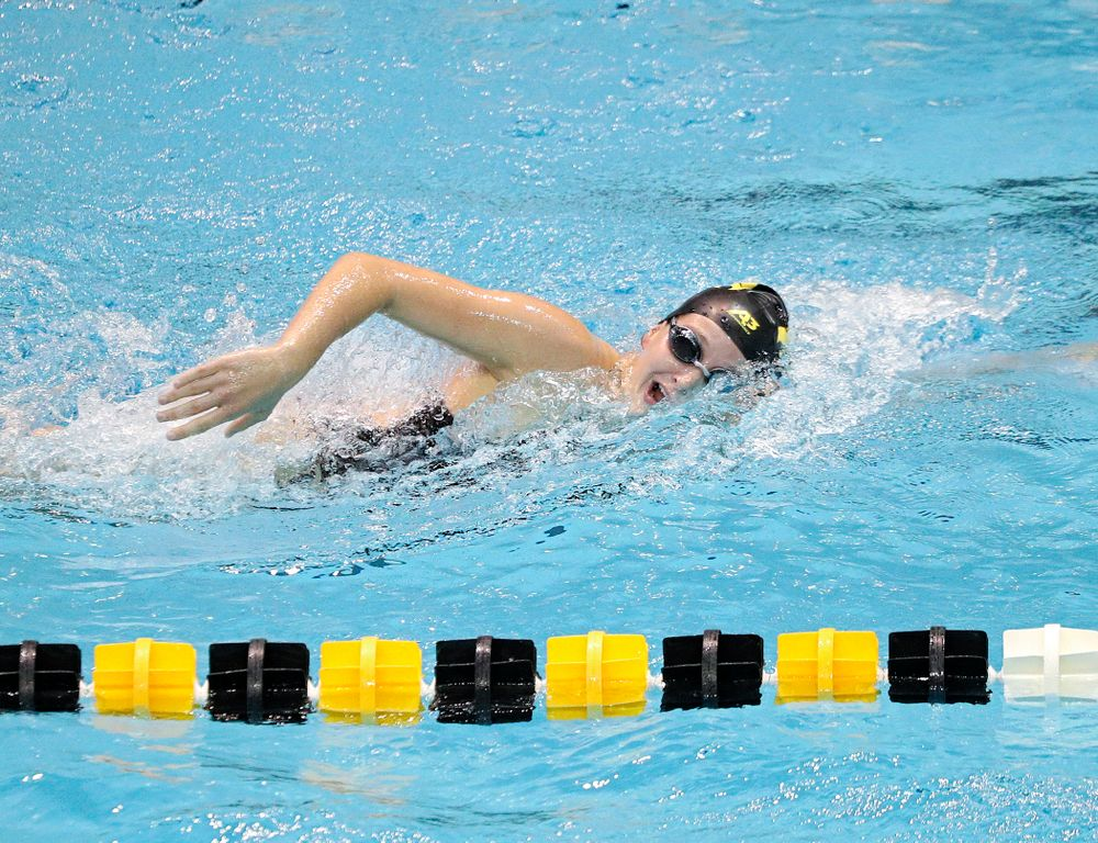 Iowa's Taylor Hartley swims the women's 1000-yard freestyle event during their meet against Michigan State and Northern Iowa at the Campus Recreation and Wellness Center in Iowa City on Friday, Oct 4, 2019. (Stephen Mally/hawkeyesports.com)