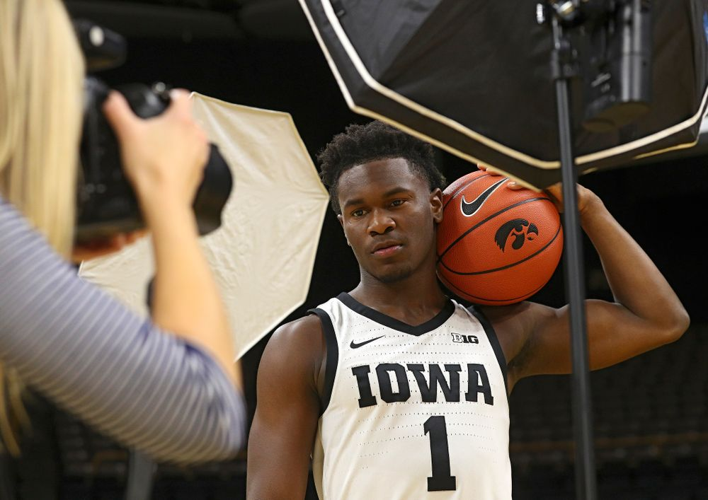 Iowa Hawkeyes guard Joe Toussaint (1) poses for a picture during Iowa Men's Basketball Media Day at Carver-Hawkeye Arena in Iowa City on Wednesday, Oct 9, 2019. (Stephen Mally/hawkeyesports.com)
