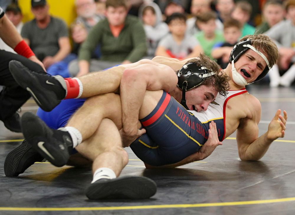 Iowa's Austin DeSanto (from left) controls Aaron Meyer during their preseason match at the Dan Gable Wrestling Complex at Carver-Hawkeye Arena in Iowa City on Friday, Nov 8, 2019. (Stephen Mally/hawkeyesports.com)