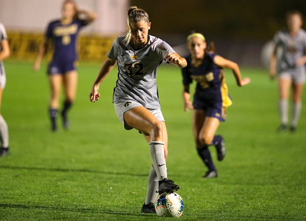 Iowa forward Gianna Gourley (32) moves with the ball during the second half of their match at the Iowa Soccer Complex in Iowa City on Friday, Sep 13, 2019. (Stephen Mally/hawkeyesports.com)