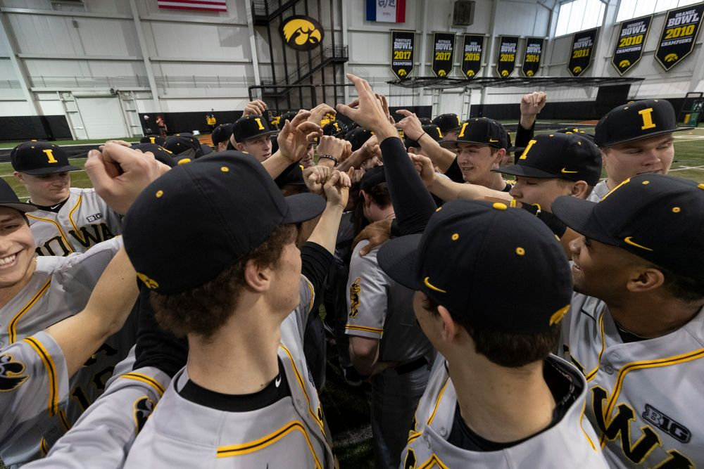 The Iowa Hawkeyes gather following the team's annual media day Tuesday, February 5, 2019 in the Indoor Practice Facility. (Brian Ray/hawkeyesports.com)