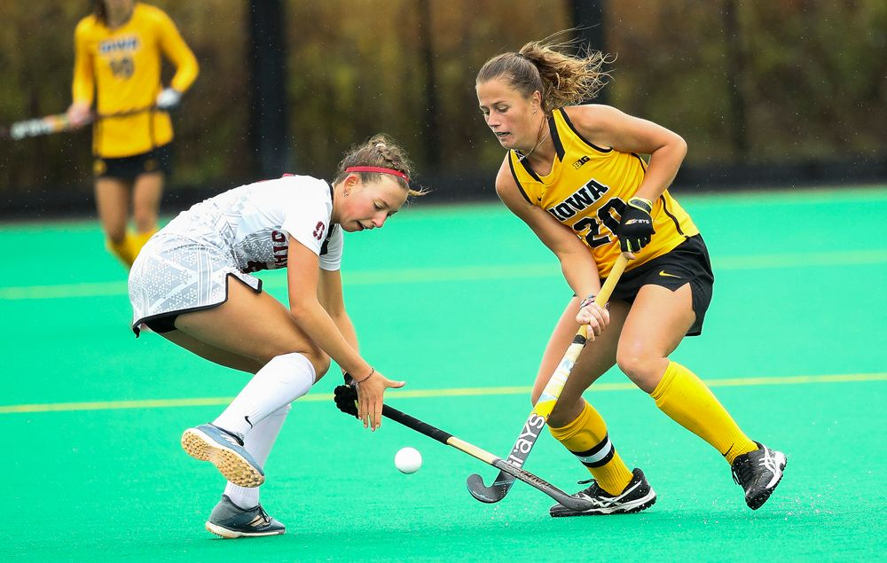 Iowa Hawkeyes midfielder Sophie Sunderland (20) defends during a game against Stanford at Grant Field on October 7, 2018. (Tork Mason/hawkeyesports.com)